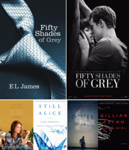 Fifty Shades Still Alice and Gone Girl Books to Films