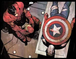Captain America and Iron Man at the end of Civil War comic book.