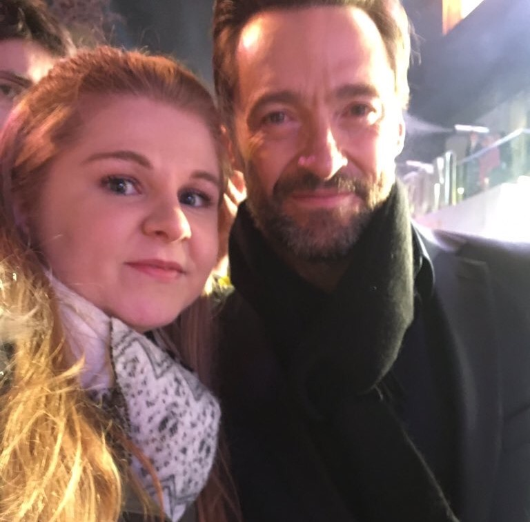Hugh Javkman meets fans at the London premiere of Eddie the Eagle