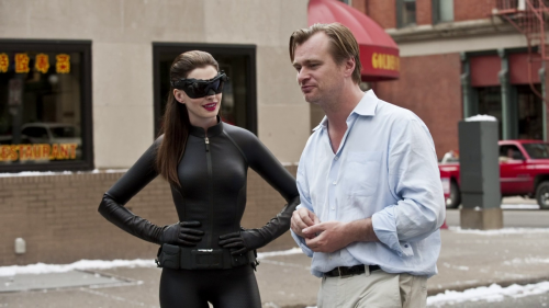 Christopher Nolan And Anna Hathaway The Dark Knight set
