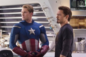 Captain America aka Steve Rogers and Iron Man aka Tony Stark. Captain America Civil War movie stills. Marvel Cinematic Universe.