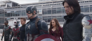 Team Captain America consists of The Winter Soldier a.k.a Bucky Barnes, Hawkeye a.k.a Clint Barton, Scarlet Witch a.k.a Wanda Maximoff, Ant-Man a.k.a Scott Lang, and Falcon a.k.a Sam Wilson. #TeamCap Marvel Cinematic Universe.