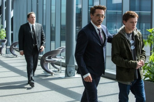 Happy (Jon Favreau), Iron Man Tony Stark (Robert Downey Jr.) and Spider-Man Peter Parker (Tom Holland)